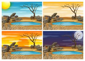 Wasserloch zu vier verschiedenen Zeiten