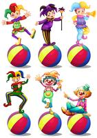 Sex karaktärer av clowner vektor