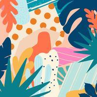 Tropiska djungelbladen och blommor bakgrunden