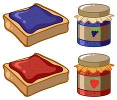 Zwei Sorten Marmelade und Brot vektor