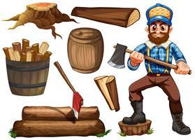 Holzfäller und Brennholz vektor