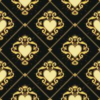 Heiliges Herz und goldene Kette auf dunkelbraunem Hintergrund. Nahtloses Muster Vektor-illustration