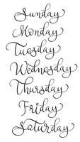 vektor uppsättning veckodagar. Kalligrafi bokstäver illustration EPS10