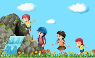 Barn vandra på vattenfallet vektor