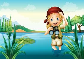 En flicka scout vid sjön vektor