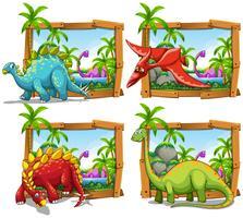 Vier Szenen von Dinosauriern am See
