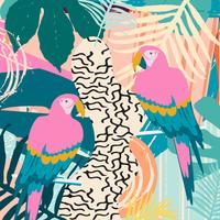 Tropischer Dschungel verlässt und blüht Plakathintergrund mit Papageien