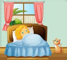 Mädchen schläft im Schlafzimmer vektor