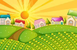 Ein Dorf mit Bauernhof vektor