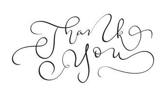 Hand gezeichneter Weinlese Vektortext danken Ihnen auf weißem Hintergrund. Kalligraphiebeschriftungsillustration EPS10