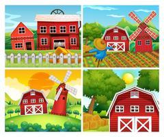 Vier Szenen von Bauernhöfen