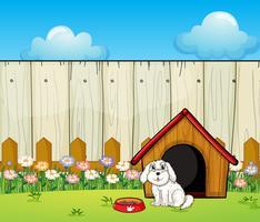 Ein Hund und das Hundehaus im Zaun