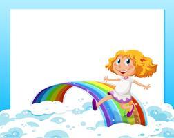 Eine leere Vorlage mit einem Mädchen am unteren Rand spielt mit dem Regenbogen