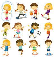 Pojke och tjej gör många aktiviteter
