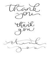 Satz Hand gezeichneter Vektor danken Ihnen, auf weißem Hintergrund zu simsen. Kalligraphiebeschriftungsillustration EPS10