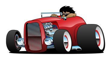 Highboy Hot Rod Roadster med förare isolerad vektor illustration