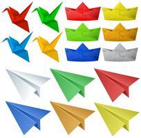 Origami-Handwerk mit Vögeln und Flugzeugen vektor