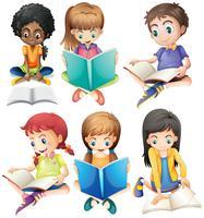 Jungen und Mädchen, die Bücher lesen vektor