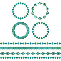 blå guld marockanska ramar och gränsmönster vektor