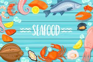 Meeresfrüchtebeschriftung auf blauem hölzernem Hintergrund