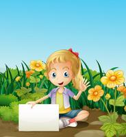 Ein junges Mädchen, das am Garten mit einem leeren Signage sitzt
