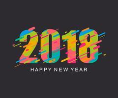 Gott nytt år 2018 designkort. vektor