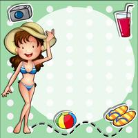 En tjej som bär en bikini med en hatt vektor