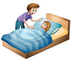 ein Junge und ein schlafendes Mädchen vektor