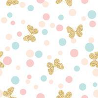 Guldglittrande fjärilar sömlösa mönster på pastellfärger konfetti runda prickar bakgrund.