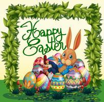 Glückliches Ostern-Plakat mit Häschen und Eiern im Garten vektor