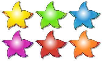 Sex färgglada stjärnor