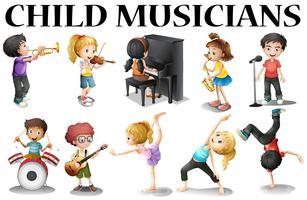Kinder, die verschiedene Musikinstrumente spielen