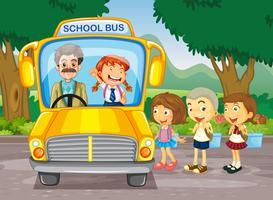 Kinder, die in den Schulbus einsteigen vektor