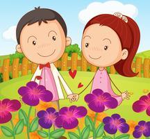 Ein süßes Paar im Garten auf dem Hügel
