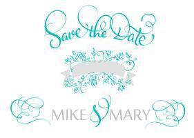 Speichern Sie den Datumstext für die Hochzeit. Kalligraphie, die Vektorillustration EPS10 beschriftet