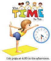 En ung kvinna yoga klockan 4:30 vektor