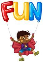 Pojke och ballong för ord roligt vektor