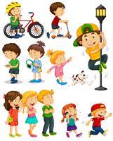 Barn gör olika aktiviteter vektor