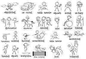 Olika inomhus- och utomhussporter vektor