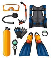 Olika utrustning för dykning