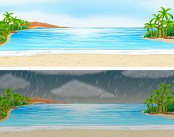 Zwei Ozeanszenen an sonnigen und regnerischen Tagen vektor