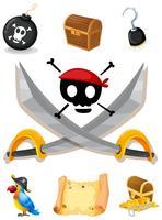 Piratenelemente mit Waffen und Karte