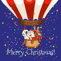 Jul tema med Santa på ballong vektor