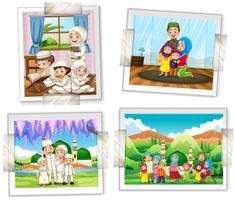 Fyra fotoramar av muslimska familjen vektor