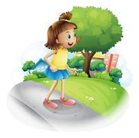 Ein kleines Mädchen an der Straße vektor