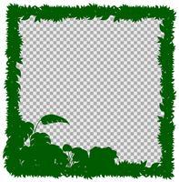 Grenzschablone mit grünem Gras und Blättern vektor