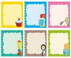 Etikettdesign med köksutrustning