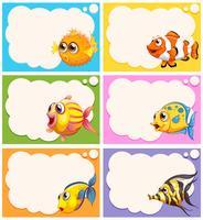 Etikettengestaltung mit niedlichen Fischen vektor