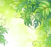 Ett brevpapper med gradientfärger och gröna blad