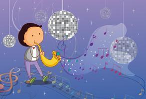 En man som spelar trumpet med disco lampor